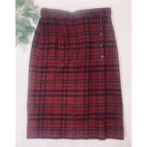 WOOLRICH   Vintage Red Plaid Wool Midi Wrap Skirt